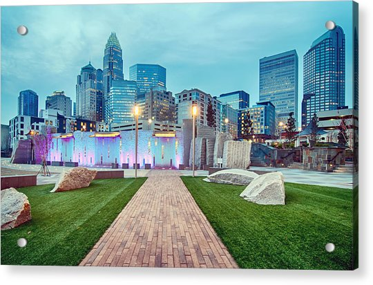 Charlotte City Skyline In The Evening Acrylic Print
