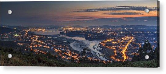 Ferrol's Ria Panorama From Mount Ancos Galicia Spain Acrylic Print