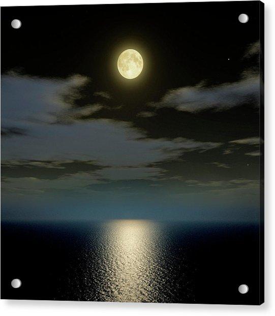 Full Moon Over The Sea Acrylic Print