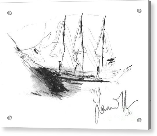 Acrylic Print featuring the drawing Great Men Sailing by Laurie Lundquist