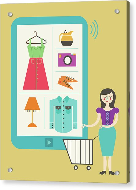 Illustration Of Online Shopping Acrylic Print by Fanatic Studio / Science Photo Library