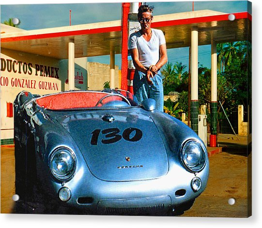 James Dean Filling His Spyder With Gas Acrylic Print