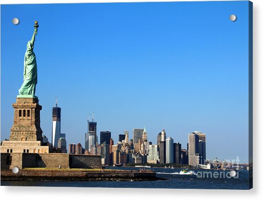 Acrylic Print featuring the photograph Lady Liberty Watches 1wtc Rise by Jemmy Archer