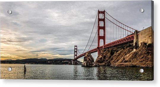 Morning Gold On The Golden Gate Acrylic Print