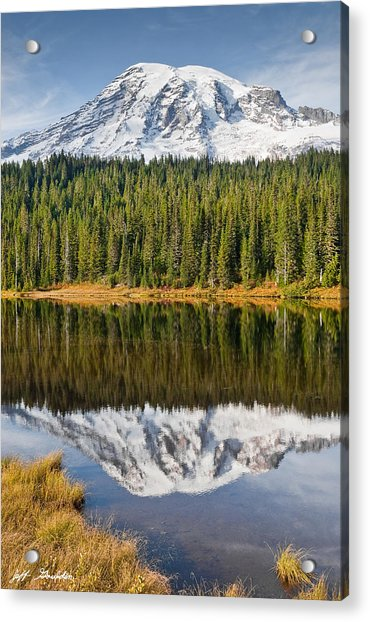 Mount Rainier And Reflection Lakes In The Fall Acrylic Print
