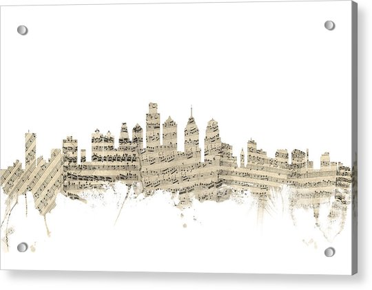 Philadelphia Pennsylvania Skyline Sheet Music Cityscape Acrylic Print