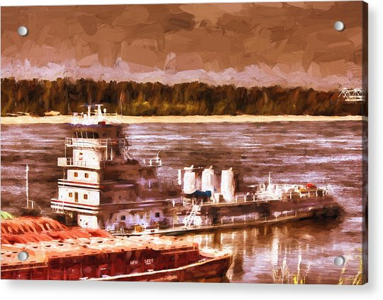 Riverboat - Mississippi River - Push That Barge Acrylic Print