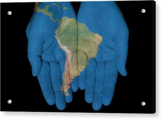 South America In Our Hands Acrylic Print