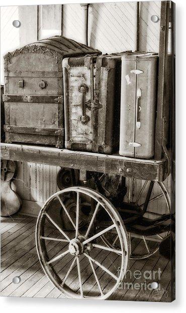 Train Station Luggage Cart Acrylic Print