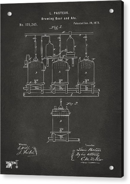 1873 Brewing Beer And Ale Patent Artwork - Gray Acrylic Print