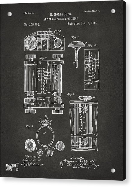 1889 First Computer Patent Gray Acrylic Print