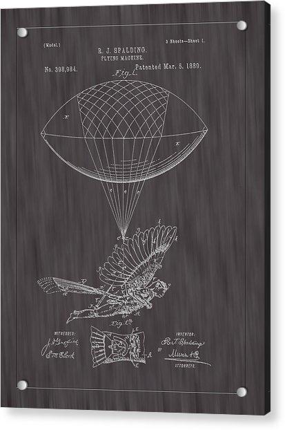 1889 Spalding Flying Machine Patent Art-black Woodgrain Acrylic Print