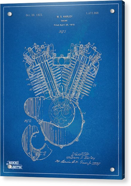 1923 Harley Davidson Engine Patent Artwork - Blueprint Acrylic Print