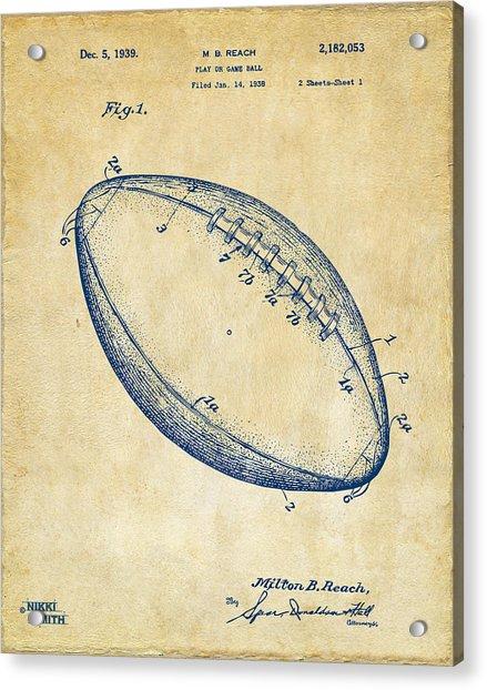 1939 Football Patent Artwork - Vintage Acrylic Print