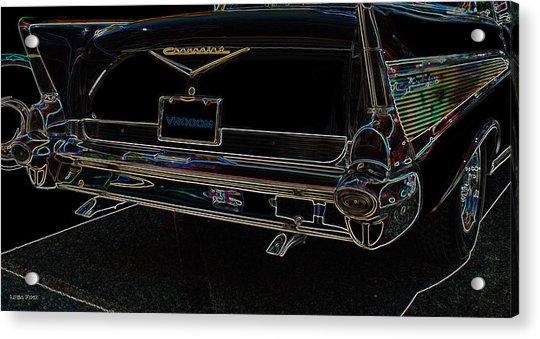 1957 Chevrolet Rear View Art Black_varooom Tag Acrylic Print
