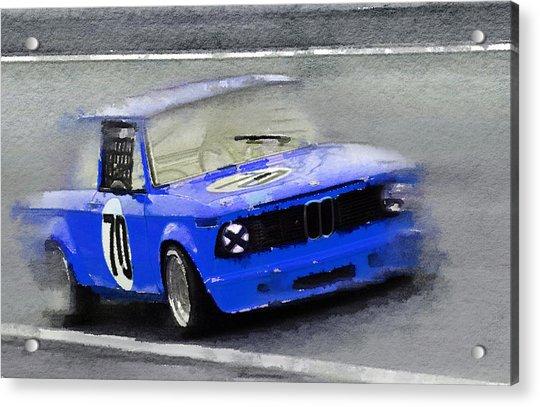 1969 Bmw 2002 Racing Watercolor Acrylic Print