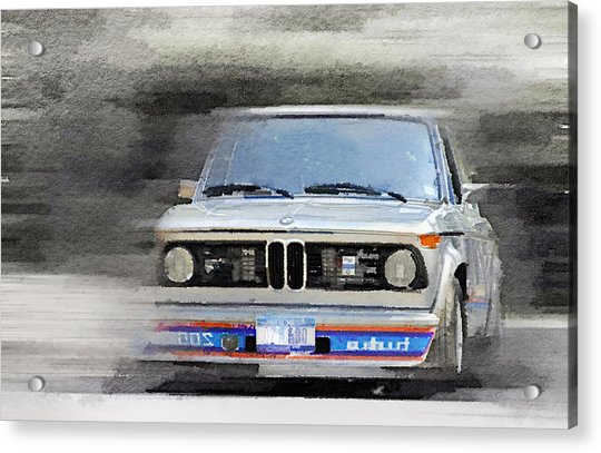 1974 Bmw 2002 Turbo Watercolor Acrylic Print