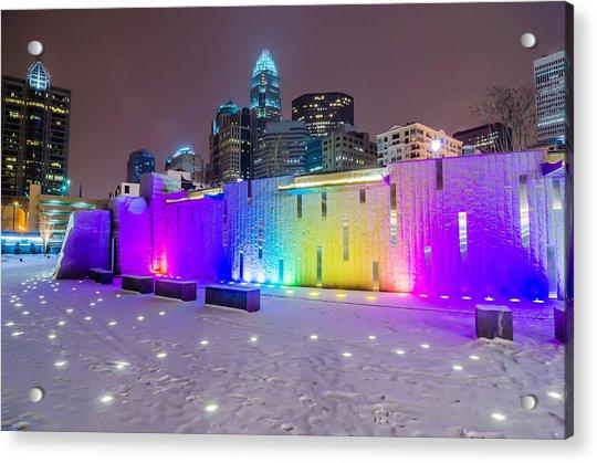 Charlotte Queen City Skyline Near Romare Bearden Park In Winter Snow Acrylic Print