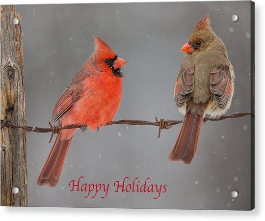 Happy Holidays Cardinals Acrylic Print