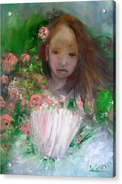 Acrylic Print featuring the painting Mary Rosa by Laurie Lundquist