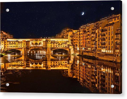 Ponte Vecchio Nightscape Acrylic Print