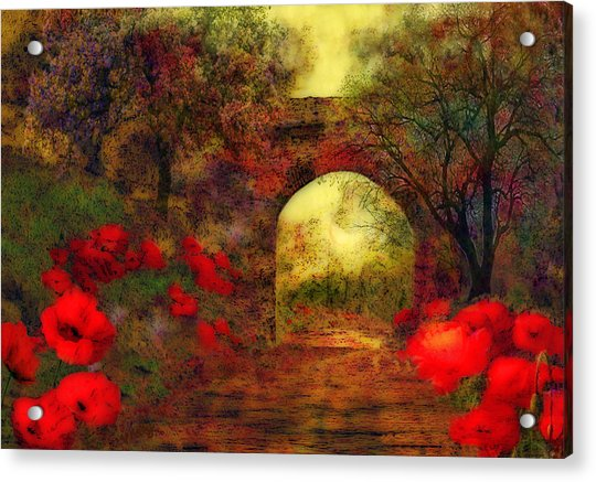 Acrylic Print featuring the painting Ye Olde Railway Bridge by Valerie Anne Kelly