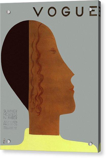 A Vintage Vogue Magazine Cover Of A Woman Acrylic Print by Eduardo Garcia Benito
