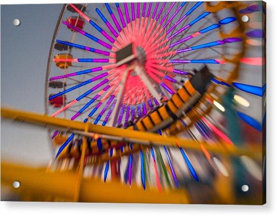 Santa Monica Pier Ferris Wheel And Roller Coaster At Dusk Acrylic Print