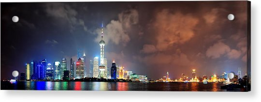 Shanghai Skyline At Night Acrylic Print