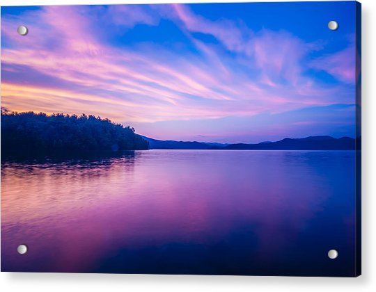 Sunset During Blue Hour At The Lake Acrylic Print