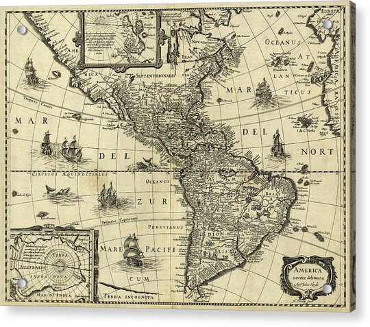 Map Of The Americas Acrylic Print