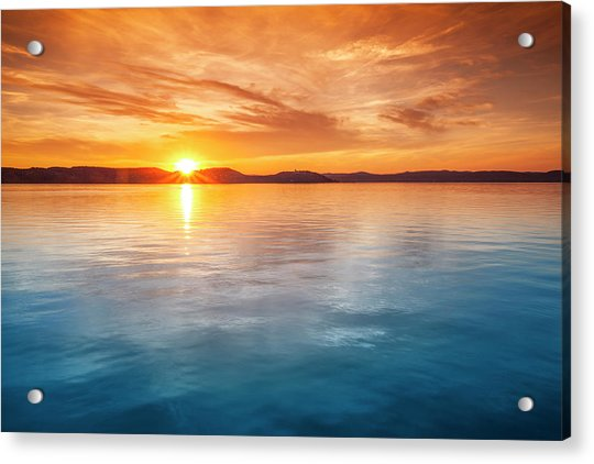 Sunset Over Water Acrylic Print by Focusstock