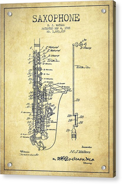 Saxophone Patent Drawing From 1928 Acrylic Print