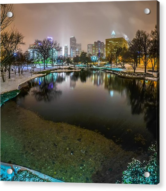 Charlotte Nc Skyline Covered In Snow In January 2014 Acrylic Print