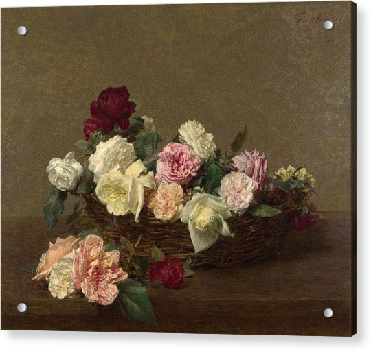 A Basket Of Roses Acrylic Print