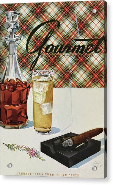 A Cigar In An Ashtray Beside A Drink And Decanter Acrylic Print