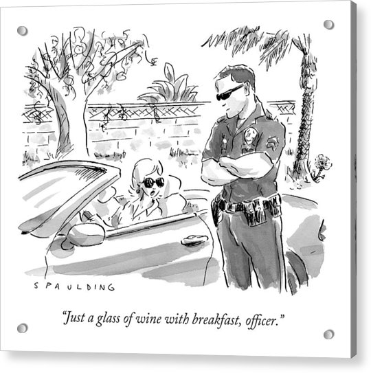 A Cop Pulling Over A Pretty Blonde Woman Acrylic Print