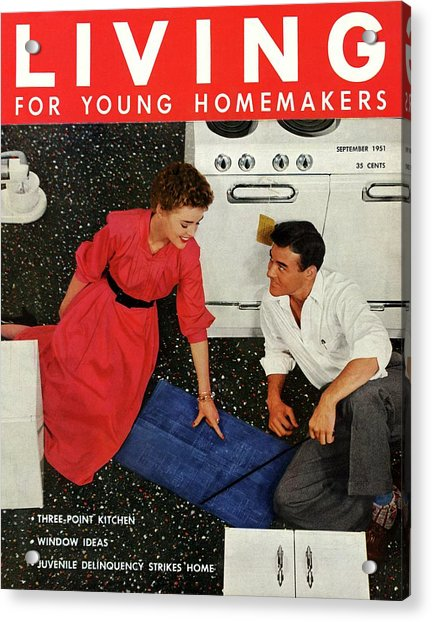 A Couple Sitting On The Kitchen Floor Acrylic Print