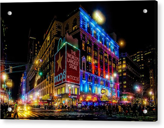 Acrylic Print featuring the photograph A December Evening At Macy's  by Chris Lord