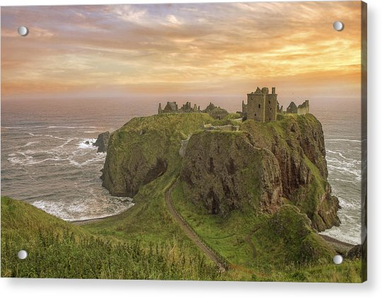 Acrylic Print featuring the photograph A Dunnottar Castle Sunrise - Scotland - Landscape by Jason Politte