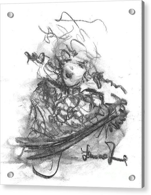 Acrylic Print featuring the drawing A Great Musician by Laurie Lundquist