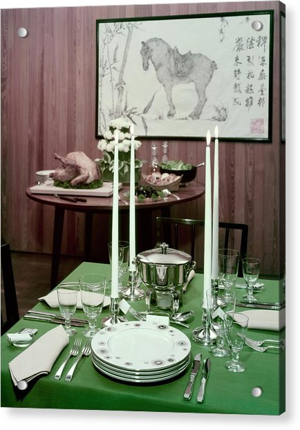 A Green Table Acrylic Print