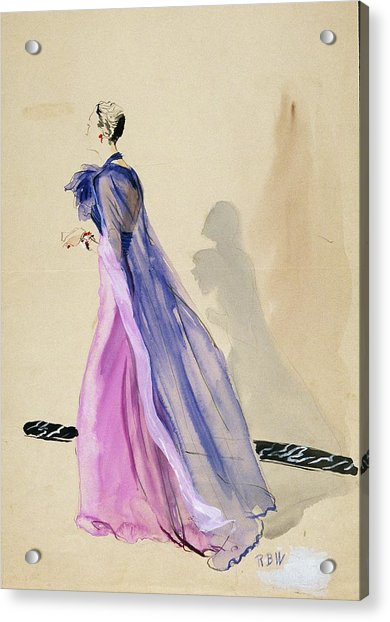 A Model Wearing A Blue Cape And Pink Chiffon Acrylic Print