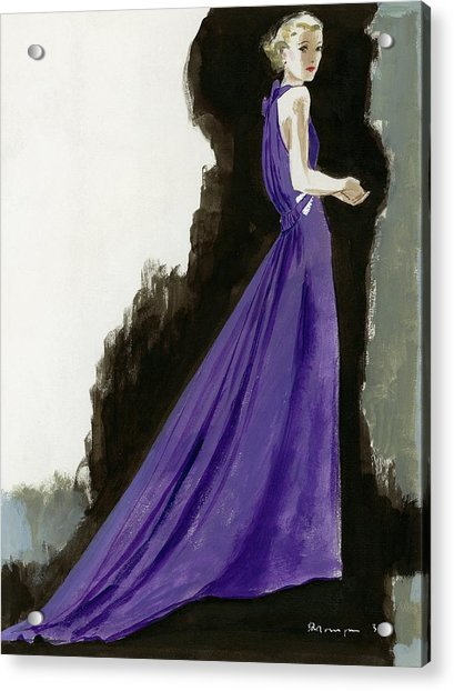 A Model Wearing A Purple Evening Dress Acrylic Print
