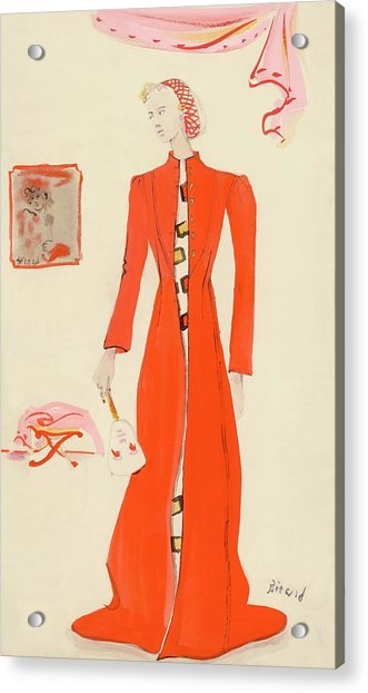 A Model Wearing A Schiaparelli Military Red Coat Acrylic Print
