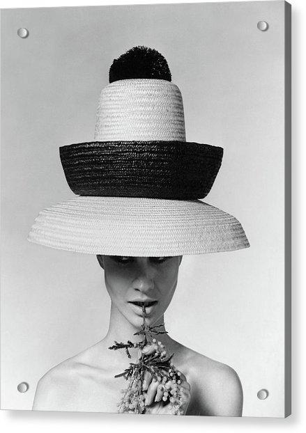 A Model Wearing A Sun Hat Acrylic Print