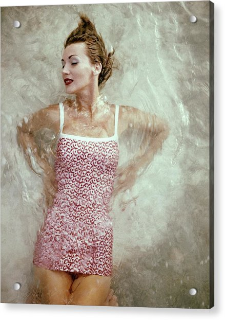 A Model Wearing A Swimsuit Acrylic Print