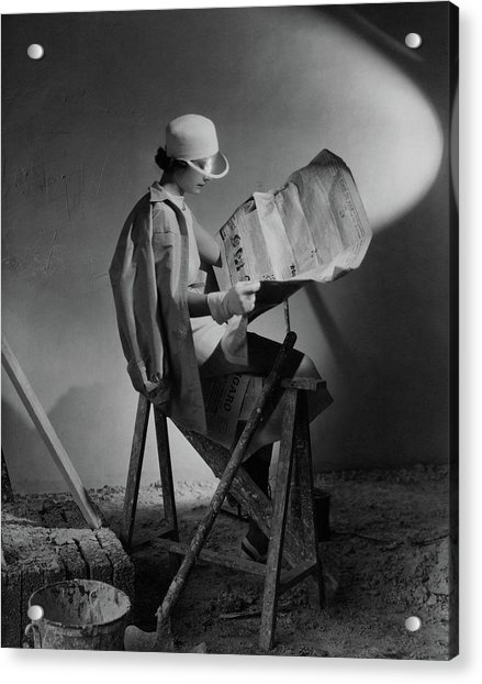 A Model Wearing An Oversized Shirt And Silk Dress Acrylic Print by Cecil Beaton