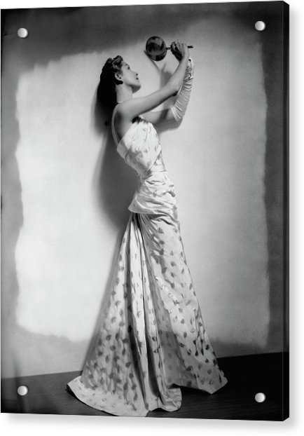A Model Wearing Leaf Patterned Dress Acrylic Print by Cecil Beaton
