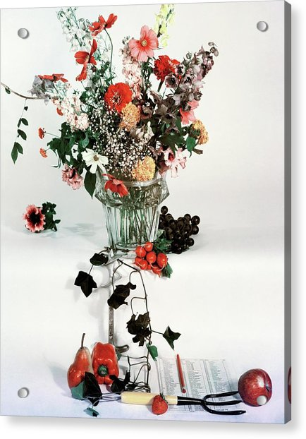 A Studio Shot Of A Vase Of Flowers And A Garden Acrylic Print